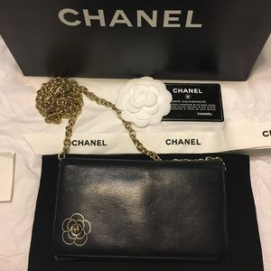 Chanel Black Caviar Leather Wallet w/Gold Camelia